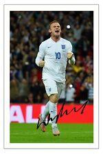 Wayne Rooney Inglaterra Record Breaker Fútbol Firmado Autógrafo Foto Impresión