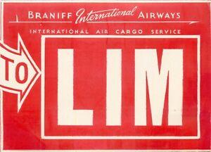 BRANIFF to LIMA (LIM) PERU - Old International Airline Luggage Label, c. 1955