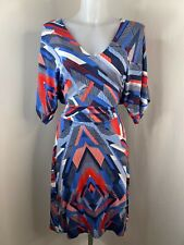 PURE COLLECTION • Blue & Red Geometric Jersey Faux Wrap Dress • Size 10
