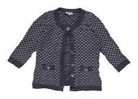Laura Ashley Womens Size S Striped Grey Cardigan (Petite)