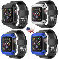 Wristwatch Bands Belt Wrist Strap+Cover Case For Apple Watch Series 4 40/44mm US