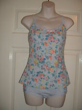 LADIES / WOMANS LOVELY GREY FLORAL CAMISOLE / VEST & KNICKER SET SIZE 10-12 BNWT