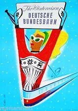 Germany Deutsche Bundesbahn Winter Ski Europe Travel Advertisement Art Poster