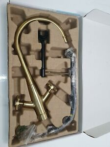 B&Q GoodHome Filbert Twin Lever Kitchen Sink Tap Brushed Brass Effect Unused