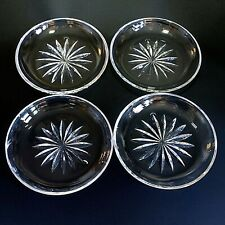 """4 (Four) ATLANTIS Heavy Cut Lead Crystal 7  5/8"""" Luncheon Plates-Signed DISCONT"""
