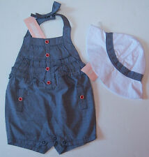 NWT Gymboree Venice Sweetie 3-6 Months Blue Chambray Ruffle Romper & White Hat