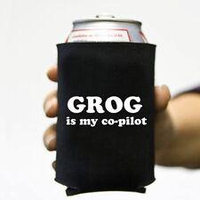 Grog is My Co-pilot Pirate Beer and Pop Can Koozie Koolie Cooler Insulator Cozy