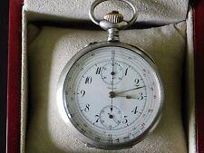 montre gousset chronographe argent +-1910 état concours fonctionne révisé +écrin