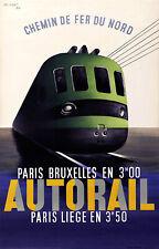 Affiche chemin de fer Nord - Autorail Paris Bruxelles