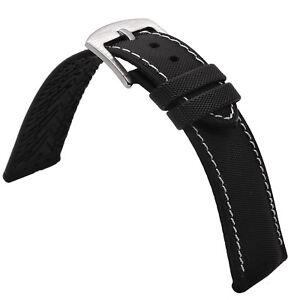 Nylon Canvas Rubber Pad Watch Strap White Stitch 19mm 20mm 21mm 22mm 23mm 24mm