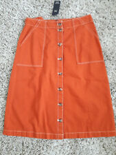 M&S SKIRT SIZE 12 JEAN BUTTON UP IN ORANGE - TERRACOTTA COLOUR BRAND NEW £25.00