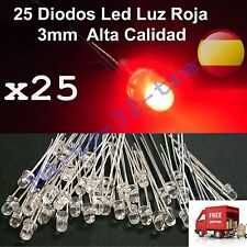 x25 Diodos Led 3mm. Luz Roja - Alta Calidad - Red Light - High quality - Arduino