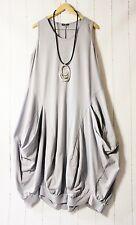 Moonshine Kleid Ballonkleid  Gr 46 48 50 Lagenlook Taschen Grau Neu