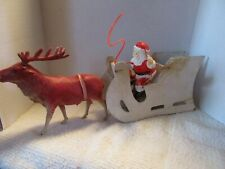 Antique Reindeer & Sleigh, with 70's Santa Christmas Holiday Decorations