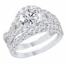 2.35 Ct Round Cut Real 14k White Gold Bridal Set Engagement Ring & Wedding Band