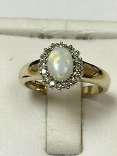 Beautiful 9 Carat Yellow Gold DIAMOND & OPAL CLUSTER Ring