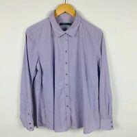 Sportscraft Womens Blouse Plus Size 16 Purple Striped Long Sleeve Button Up