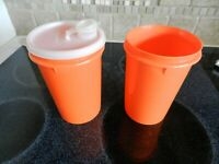 Two Vintage Tupperware Orange Canister 321-6 Pour Lid 563-2