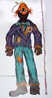 "Vintage Beistle Die Cut 54"" Jointed Halloween Scarecrow Hanging Decoration HUGE!"
