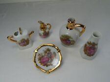 5 Piece Limoge Miniature Porcelain Trinket Dollhouse Sized Set. Love story.