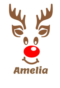 Personalised Name Reindeer Face Christmas Sticker