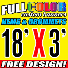 18' X 3' Custom Banner 16oz Vinyl / Flex Outdoor FT Personalized Advertise Signs