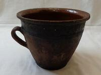 Antique Ceramic Crock Old Farm Vtg Pottery Jar Jug Pitcher Ewer Pot Mug Handle