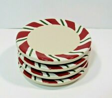 Longaberger Christmas Pottery Coasters Peppermint Candy Cane Stripe Set of 4