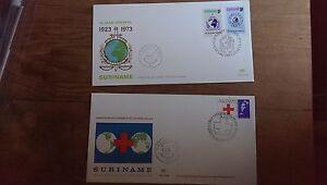 Rare Suriname  1973  2 x FDC Interpol & Red Cross Excellent condiiton