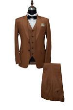 Hombre Marrón Trajes de Diseño Boda Novios Cena (Chaqueta+Chaleco+Pantalones)