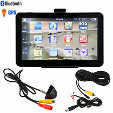 "Bluetooth 7"" Auto Car 4GB GPS Mirror Navigation+Reverse RearView Backup Camera"