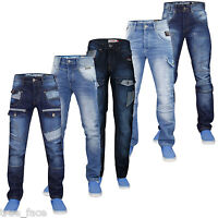 Mens Denim Jeans Rawcraft Straight Leg Designer Fashion Trouser Pants All Sizes