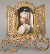 German KPM Style Miniature Porcelain Portrait Jeweled Brass Frame