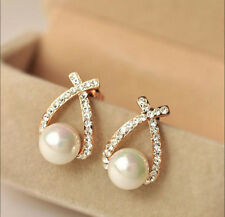 High Fashion Womens Rhinestone Crystal Pearl Ear Stud Earrings Wedding Jewelry M