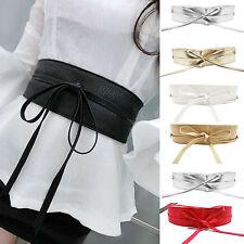 Womens Faux Leather Wide Waistband Self Tie Wrap Around Ladies Dress Waist Belt