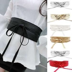 Waist Cincher Corset Black Wide Band Obi Style Elastic Tied Waspie Belt Leather
