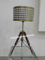 Designer Nautical Wooden Chrome Tripod Table Lamp Stand Vintage Floor Shade Lamp