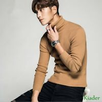 Winter Mens Turtleneck Knitted Slim Fit Solid Fashion Warm Base Shirts Sweater