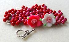 Howlite Beads Red Pink White Polymer Clay Flower Bead Pewter Bracelet Kit