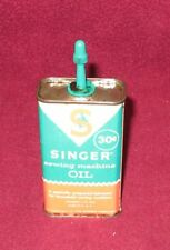 Vintage SINGER Sewing Machine OIL CAN 4oz size Handy Oiler Tin = ALMOST FULL