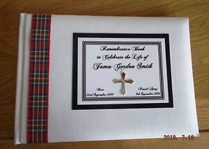 Tartan Personalised Remembrance Condolence Guest Book Choose from 25 Tartans