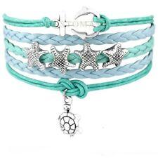 Turtle Infinity Love Anchor Starfish & Turtle Charm Wax Cord Cuff Bracelet