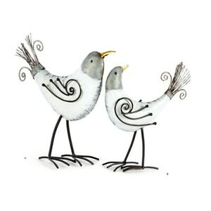 Set 2 Metal White Birds Looking Back/Ahead Iron Indoor Country Home Kitchen Deco