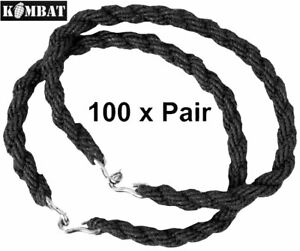 100 Pairs Trouser Twists Bungee Elastic Leg Ties Army Combat Military Boot Black