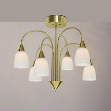 WOFI Plafonnier LED Casa 6 LAMPES LAITON VERRE BLANC Ø50 cm 30 WATT 2580 Lumen
