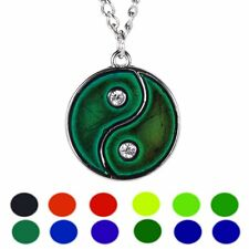 Yin Yang Sensitive Liquid Gem Thermo Mood Changing Color Pendant Necklace Gift