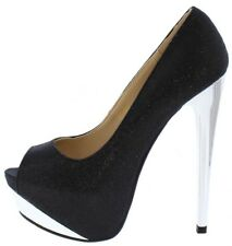 "6"" Open Peep Toe Exotic wear Stiletto High Heels Platform Pumps Size 5.5-10 H191"