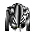 donne bianco e nero a righe corto CASCATA giacca Casual blazer giacca