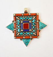 Asian  Regional Jewelry Sterling Silver Pendant Tibetan Turquoise Coral Lapis A1