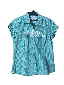 GAASTRA SHIRT SIZE L CHECK GREEN COTTON SHORT SLEEVE COLLARED MADE IN INDIA #67A